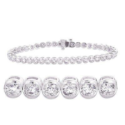 Bracelet en or blanc 14 carats-Diamant JewelryWeb
