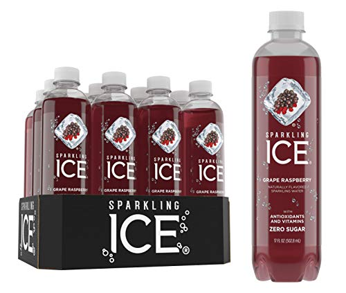- Sparkling Ice Grape Raspberry Sparkling Water, with Antioxidants & Vitamins, Zero Sugar, 17 fl. oz. Bottles (Pack of 12)