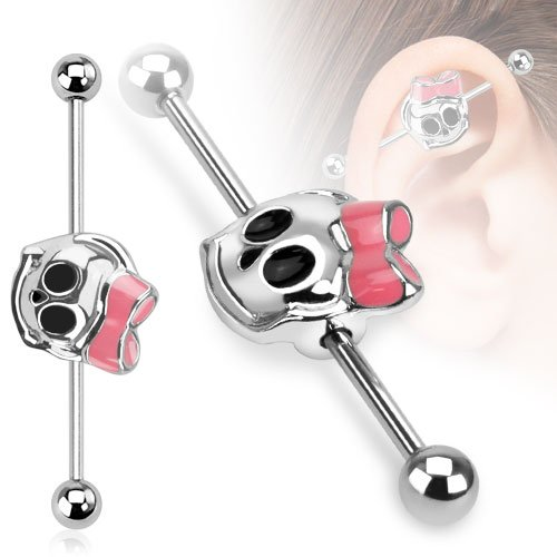 (Dynamique 14GA Cute Skull with Ribbon 316L Stainless Steel Industrial Barbell 1&1/2