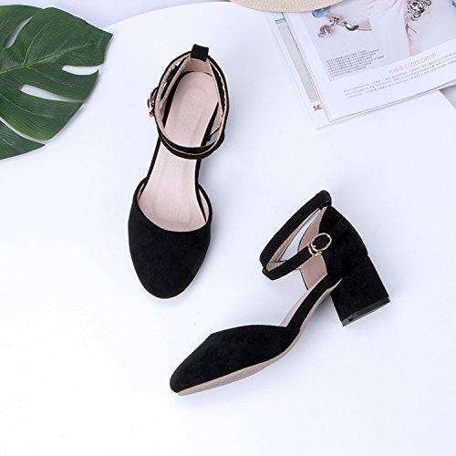 Los De Hadas Las Zapatos Bold Mujer Sandalias Zapatos Estudiantes Verano Con Con De Baotou GAOLIM Negro De Alto Talón wqg7v0q
