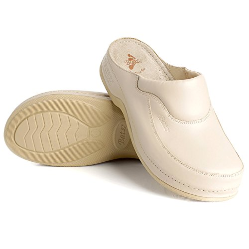 BATZ FC04 Handmade Leather Womens Ladies Slip-On Clogs Mules Beige NcrEWnFNEP