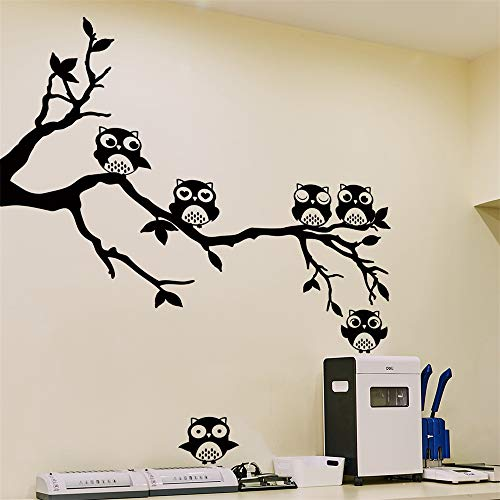 Fhing Owl On Tree Wall Sticker for Children's Room Decoration PVC Wall Decal70cm44cm -
