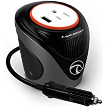 Power Bright XC180 Cup Inverter, 180-watt 12V DC cigarette lighter to 120V AC to power laptop notebook & more w/ 3 USB ports 2.1A shared compatible with iPad & more