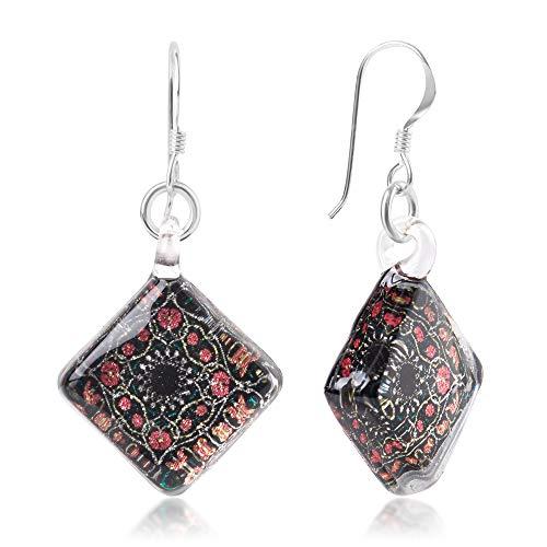 925 Sterling Silver Glass Jewelry Black Pink Flower Mandala Design Dangle Square Earrings