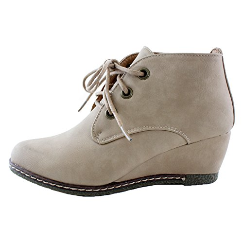 Leather Lace Booties Premium Up Ankle Nature Breeze 6 Women's Faux Wedge Beige HOwxO1qX