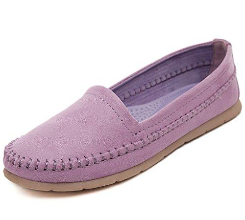 Maybest Dames Casual Werk Comfort Leer Loafer Platte Pumps Moccasins Erwten Schoenen Paars