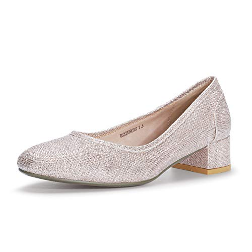 IDIFU Women's RO2 Fashion Chunky-LO Closed Square Toe Low Chunky Block Heel Slip on Pumps Shoes (11 M US, Gold Glitter)
