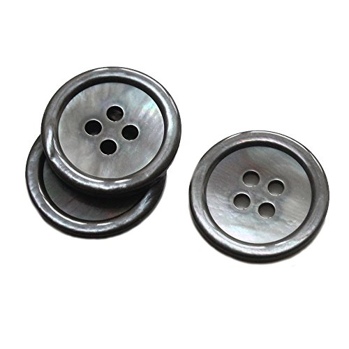 YaHoGa 22 Pieces Genuine Smoke Mother of Pearl Buttons Set 20MM 15MM Natural Grey MOP Shell Buttons Blazer Buttons Suit Buttons for Men 32L/24L (Smoke - Pearl Button Grey