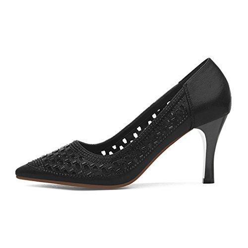 HWF Zapatos para mujer Zapatos de primavera solos sandalias a cielo abierto de mujer Zapatos de tacón alto de verano negro ( Color : Negro , Tamaño : 34 ) Negro