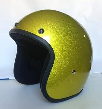 Casco Jet, Tamaño Pequeño, Homologado Metalflake Glitter Oro Gold Biker Custom Moto Small Glitter