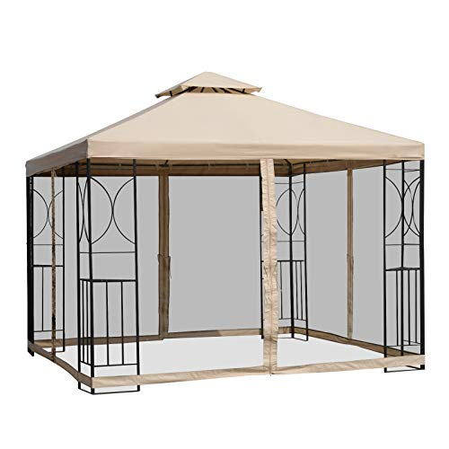 Outsunny 10' x 10' Steel Fabric Square Outdoor Gazebo with Mosquito Netting - - Tent Net Picnic With