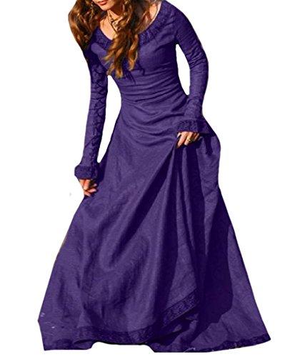 De Confortables Femmes Acceptent Partie Maxi Longueur De Plancher Col Rond De Taille Robe Violette