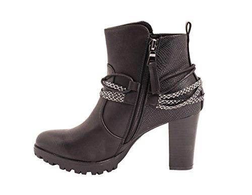 Elara Damen Stiefeletten | Ankle Boots Lederoptik Prints | Blockabsatz Profilsohle Schwarz New