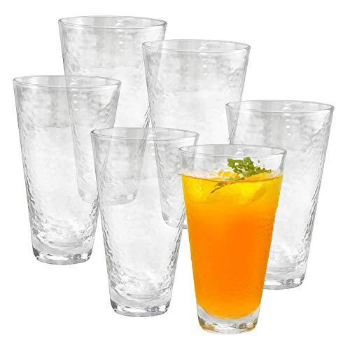 HORLIMER 14 oz Drinking Glasses Set of 6, Clear Water Glasses Cup for Wine Beer Beverage Juice Mixed Drinks