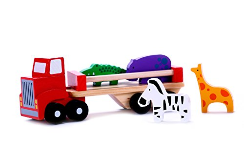 Classic Wooden Toy Truck with Animals for 2, 3 Year Olds, with Detachable Trailer Carrier & Solid Wood Hippo, Giraffe, Zebra & Crocodile Pieces for Preschool Kids, Toddlers Boys & Girls (Ground Cab Effects)
