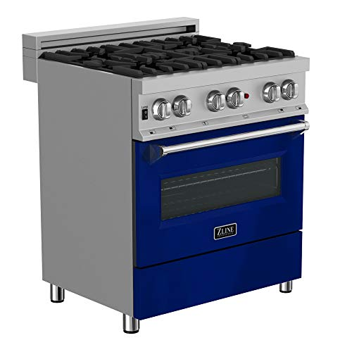 ZLINE 30 in. Professional Dual Fuel Range in Snow Stainless with Blue Gloss Door (RAS-BG-30)