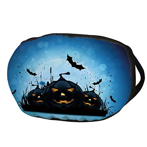 Fashion Cotton Antidust Face Mouth Mask,Halloween,Scary Pumpkins in Grass with Bats Full Moon Traditional Composition Decorative,Black Yellow Sky Blue,for women & -