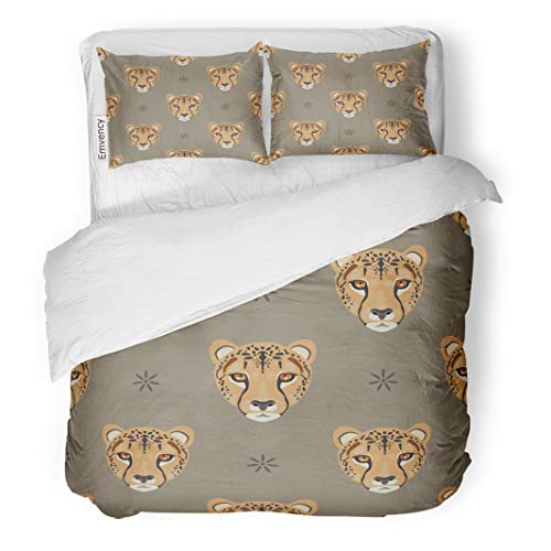 Semtomn Decor Duvet Cover Set Twin Size Geometrical Pattern Cheetah Heads and Abstract Floral Polka Dots 3 Piece Brushed Microfiber Fabric Print Bedding Set Cover ()