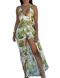 Women's Elegant Backless Slit Maxi Dress Beach Dress