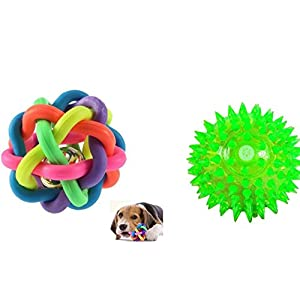 W9 Sound Ball with Bell and Free Led Squeaky Lighting for Dogs and Puppies, Medium/Small (Multicolour) – Pack of 2