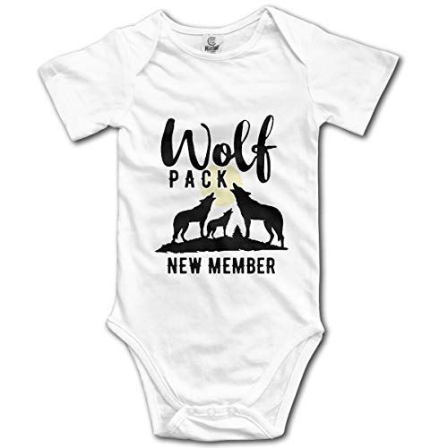 Wolf Pack New Member Girls Boys Newborn Summer One-Piece Bodysuit White -