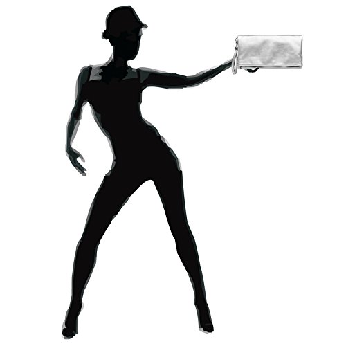 clutch Pochette TA392 élégante de soirée enveloppe Argenté femme pour CASPAR sac 6HqAxqw