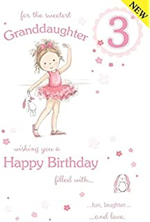 Sweetest Granddaughter Age 3 Large Luxury 3rd Birthday Card