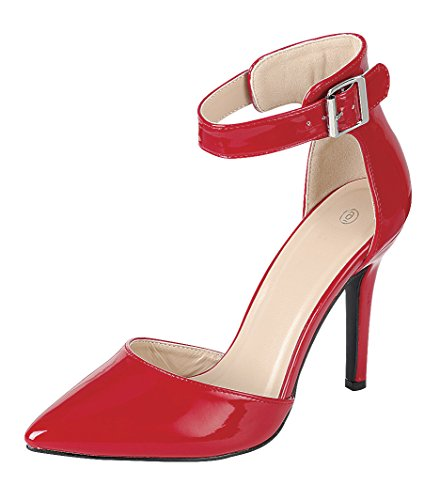 Cambridge Select Women's Closed Pointed Toe D'Orsay Buckled Ankle Strap Stiletto High Heel Pump,9 B(M) US,Red Patent - Patent Red Toe Pointed Heels