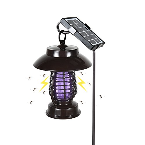 YAZACO Solar Bug Zapper,Outdoor Mosquito / Insect / Flying Biting Garden Electric Killer Light ,Solar Pathway Light Bright UV Light Attracter Get Rid of Gnats / Wasps / Moths / Flies by YAZACO