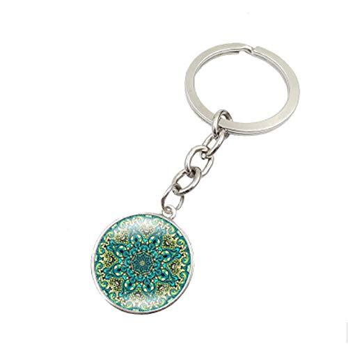 OSTELY Mandala Flower Symbol Metal Key Chain Glass Key ()