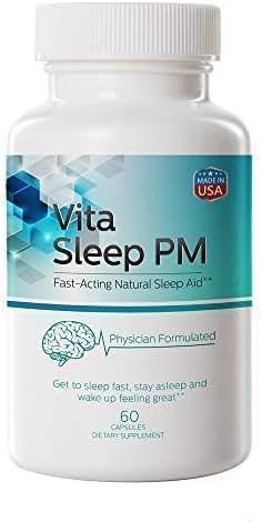VitaSleep PM Restful Sleep | Melatonin & Valerian | Stress Insomnia Anxiety Relief | Non-Habit Forming Herbal Sleeping Pills | 5-HTP, L Theanine, Chamomile, Calcium, Melatonin | 60 Capsules