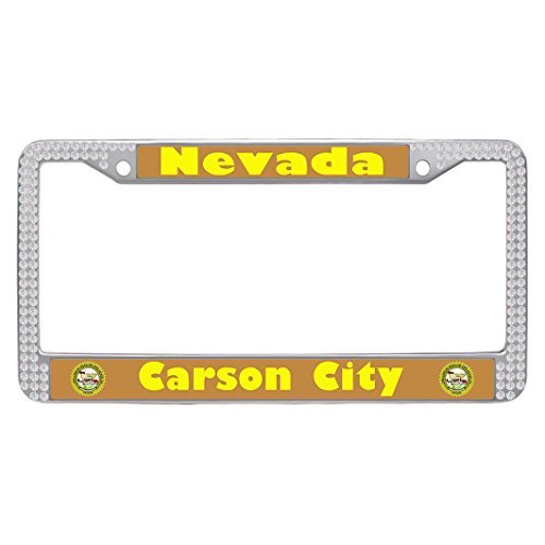 Dongsmer Carson City Sparkle Cute Auto License Plate Frame Popular License Plate Covers With Security Screws and Screws Caps,White (City Old Carson)