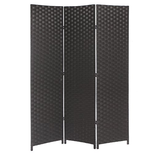 Dark Brown Wood Mesh Woven Design Freestanding 3