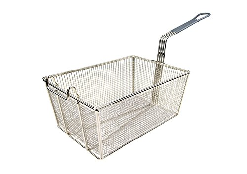 Winco FB-35, 13-1/4'' Stainless Steel Deep Fry Basket with Grey Coated Handle, French Fries Fryer Basket