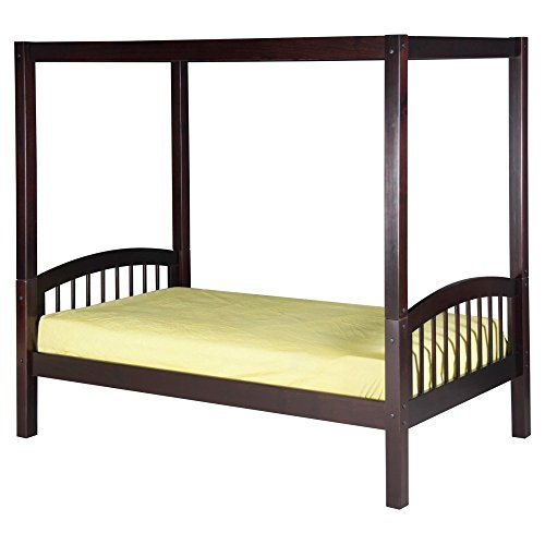 Solid Wood Canopy - Camaflexi Arch Spindle Style Solid Wood Canopy Bed with Trundle, Twin, Cappuccino
