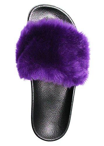 NewYouDirect Fur Slides for Women,Fuzzy Sandals Slippers Flip Flop Furry Slides Soft Flat for Indoor Outdoor Purple ()