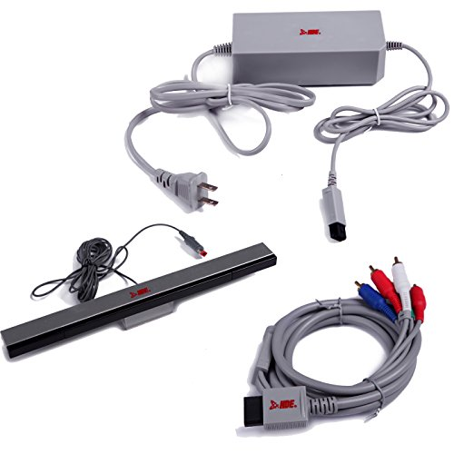 HDE Accessory Pack for Nintendo Wii AC Power Adapter Block Component A/V HDTV Cable and Wired Motion Sensor Bar for Nintendo Wii ()
