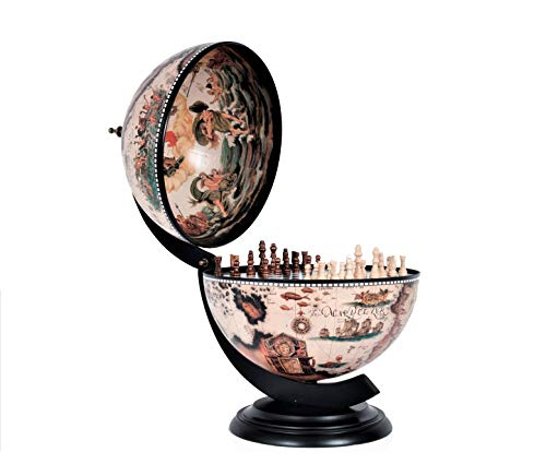 Old Modern Handicrafts Globe with Chess Holder, 13-Inch, White ()
