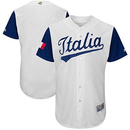 Men's 2017 World Baseball Classic Jerseys Italy Team White XL (Italy Baseball Jersey)