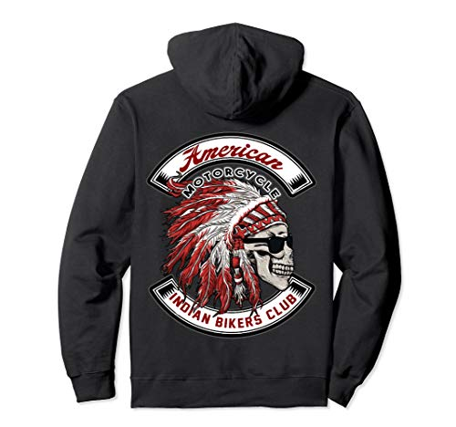 Unisex American Motorcycle Indian Bikers Club Hoodie Medium Black -