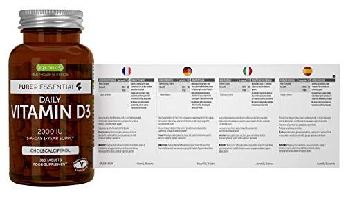 Pure & Essential Vitamina D3 Cotidiana, colecalciferol 2000 ui, suministro diario para un año, 365 comprimidos
