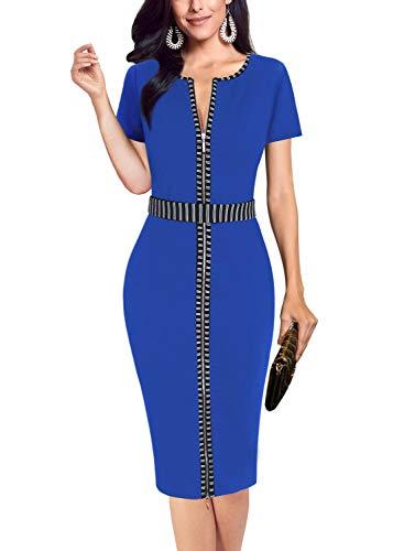 VFSHOW Womens Blue Elegant Contrast Zipper Front Work Business Office Party Sheath Dress 2813 BLU S