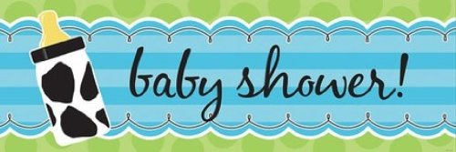 Amazon.com: Giant Baby Shower Banner, Baby Boy Cow Print: Kitchen ...