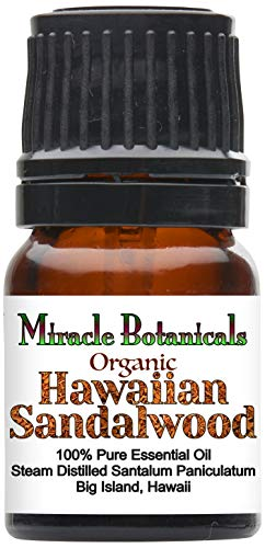 Miracle Botanicals Organic Hawaiian Sandalwood Essential Oil - 100% Pure Santalum Paniculatum - 2.5ml, 5ml, or 10ml Sizes - Therapeutic Grade - 2.5ml