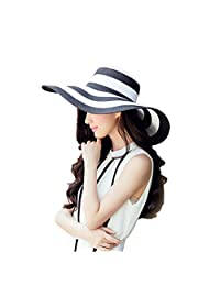 Homieco™ Women Summer Beach Sun Hats Striped Straw Wide Brim Foldable Cap