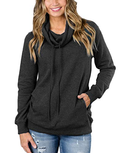 (KUREAS Women's Cowl Neck Solid Color Tunic Sweatshirt Drawstring Pullover Tops with Pocket Gray)