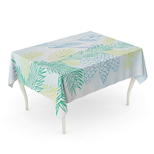 Semtomn 60 x 102 Inch Decorative Rectangle Tablecloth Branch Bird on Christmas Fir and Pinecone Little Sitting Tree Waterproof Oil-Proof Printed Table Cloth