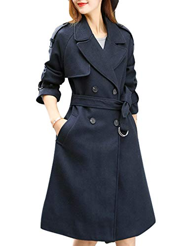(Gihuo Women's Casual Double Breasted Pea Coat Wool Blend Swing Trench Coats (Navy, Small))