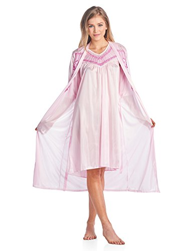 (Casual Nights Women's Satin 2 Piece Robe and Nightgown Set - Embroidered Pink - X-Large )