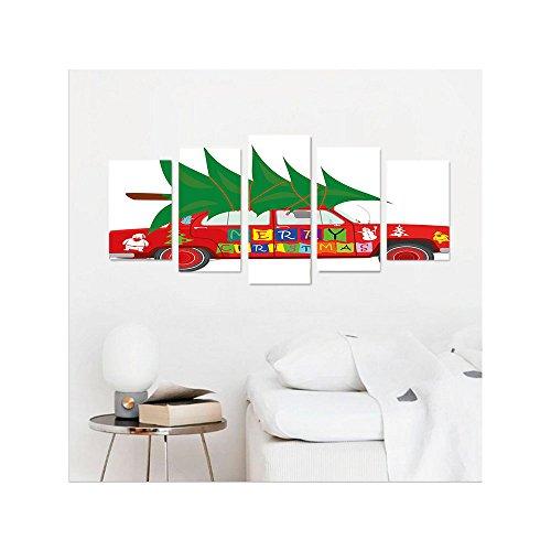 liguo88Custom Cita de Navidad para colgar en la pared rojo clásico Car de lona con árbol de Navidad Feliz Navidad y Santa...